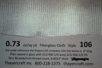 Style 106 fiberglass cloth close up with data, no finish