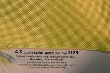 4.3 oz/sq yd style 1129 Kevlar fabric close up with construction data
