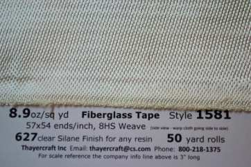 "8.9 oz 8 harness satin weave 3"" wide fiberglass tape from Thayercraft"