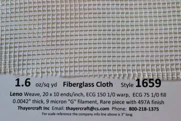 1.6 oz Leno weave style 1659 fiberglass Net cloth close up with data