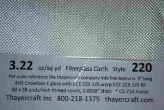 style 220 3.22 oz/sq yd 4hs fiberglass cloth close up with construction dat
