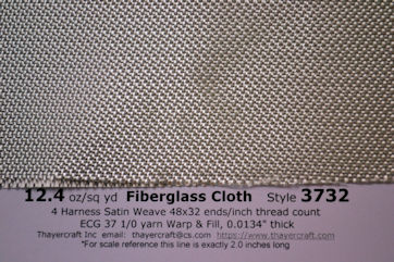 Close up photo with data of style 3732, 12.4 oz/sq yd fiberglass cloth