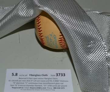 3733 with Volan finish fiberglass cloth doubled back over baseball  from Thayercraft