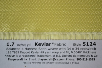 1.7 oz crowfoot weave Kevlar close up with Construction Data