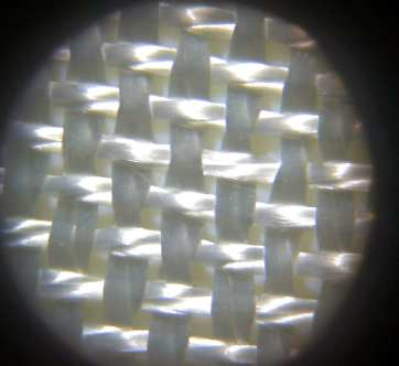 9.6 oz plain weave style 7500 under microscope from Thayercraft