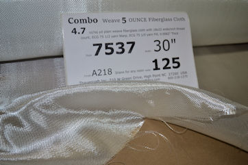 4.7 osy COMBO 5 oz FIBERGLASS CLOTH loose with label