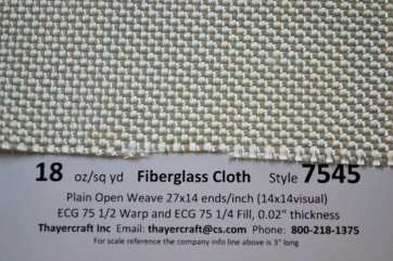 Style 7545 18 oz/sq yd tooling cloth construction data close up
