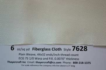 Style 7628 6 oz/sq yd plain weave close up with construction data from Thayercraft