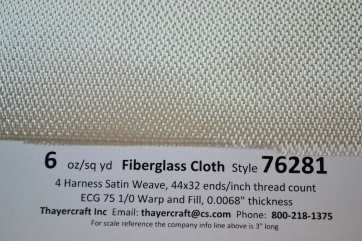 76281 4 HS 6 oz/sq fiberglass cloth close up with data  from Thayercraft