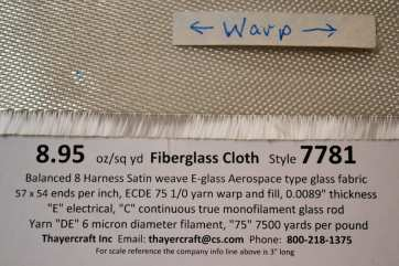 Style 7781 8HS fiberglass cloth close up with data warp showing edge from Thayercraft