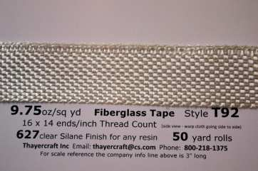 "Style T92 9.75 oz 1"" wide 627 finish fiberglass tape from Thayercraft"