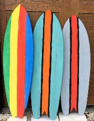 Vintage look surfboards made with fiberglass from Thayercraft